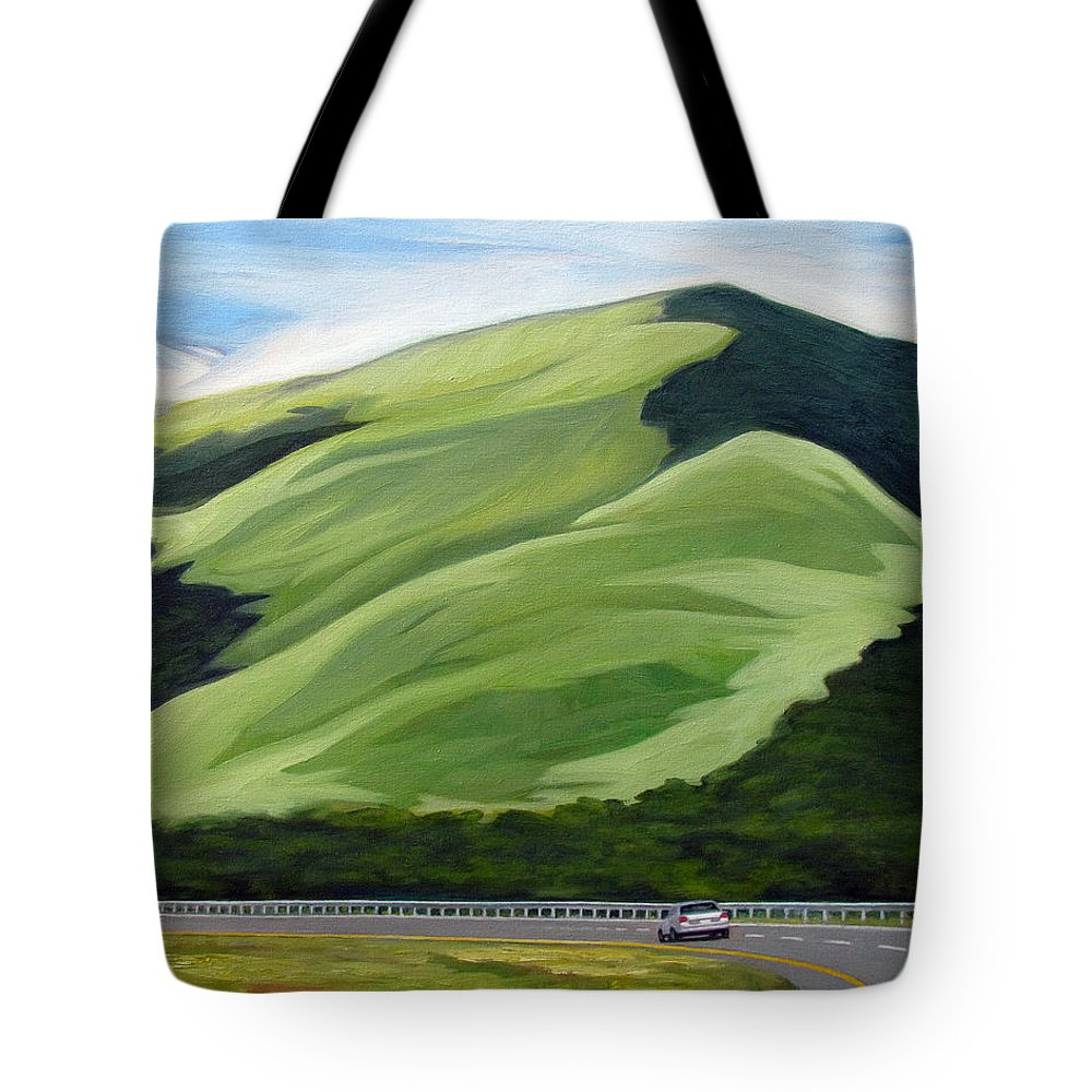 Mountains Tote Bag featuring the painting Facing The Giant by Ben Morales-Correa