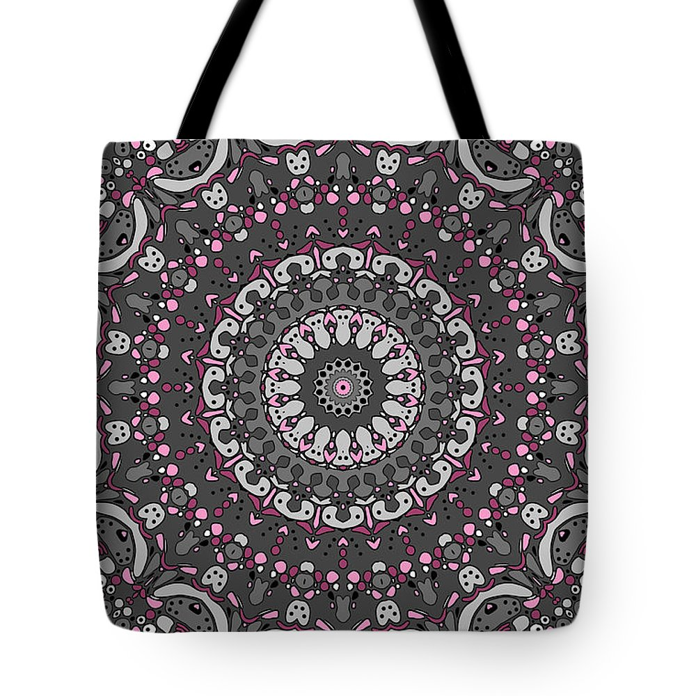 Mandala Tote Bag featuring the digital art Faded Cedar No. 1 Mandala by Joy McKenzie