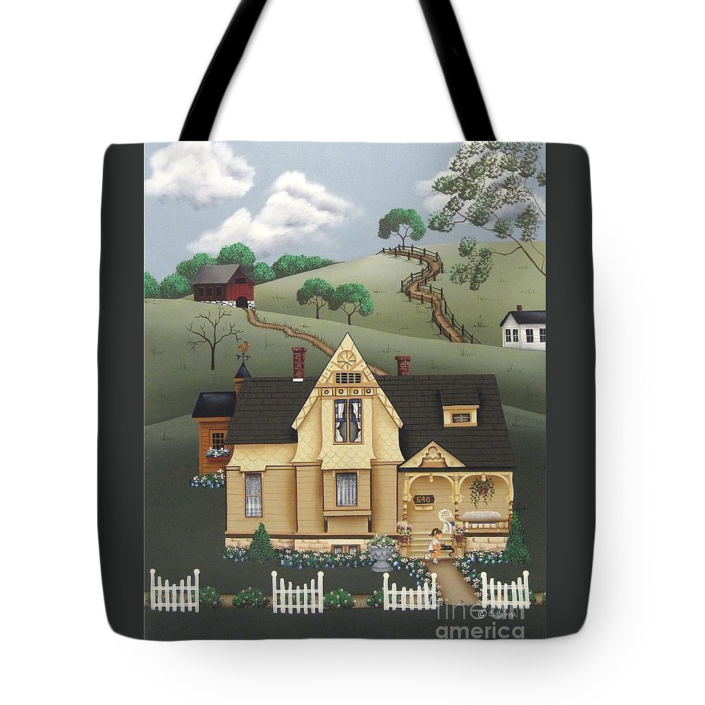 Art Tote Bag featuring the painting Fairhill Farm by Catherine Holman