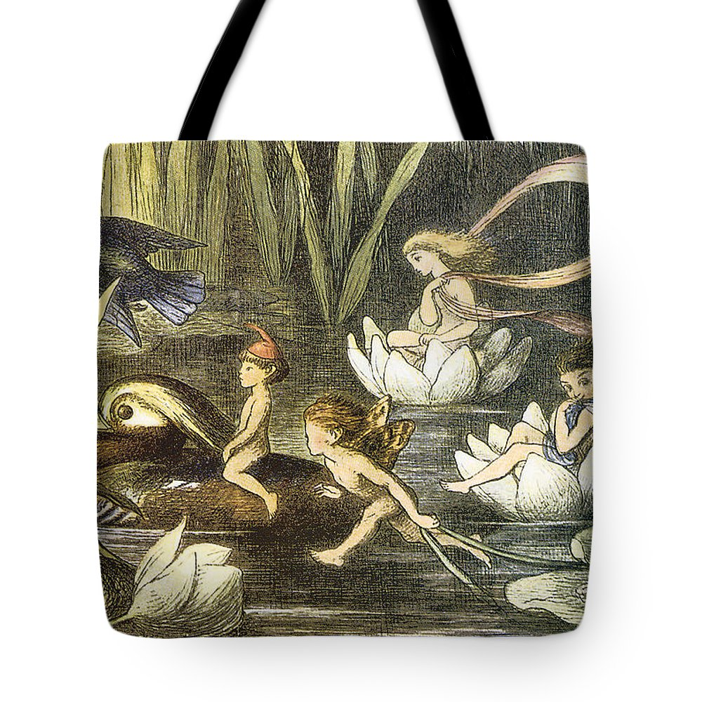 Richard Doyle Tote Bag featuring the digital art Fairies And Water Lilies Circa 1870 by Richard Doyle