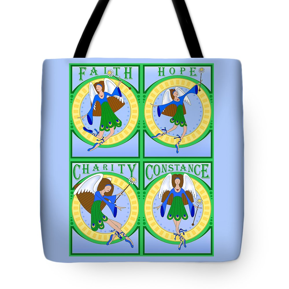Fairy Tote Bag featuring the digital art Fairy Angels by Alison Stein