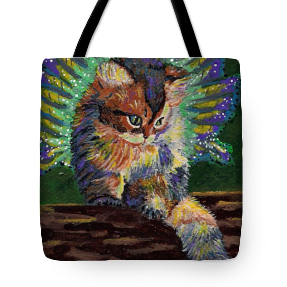 Animal Tote Bag featuring the painting Fairy Cat by Bronwen Skye