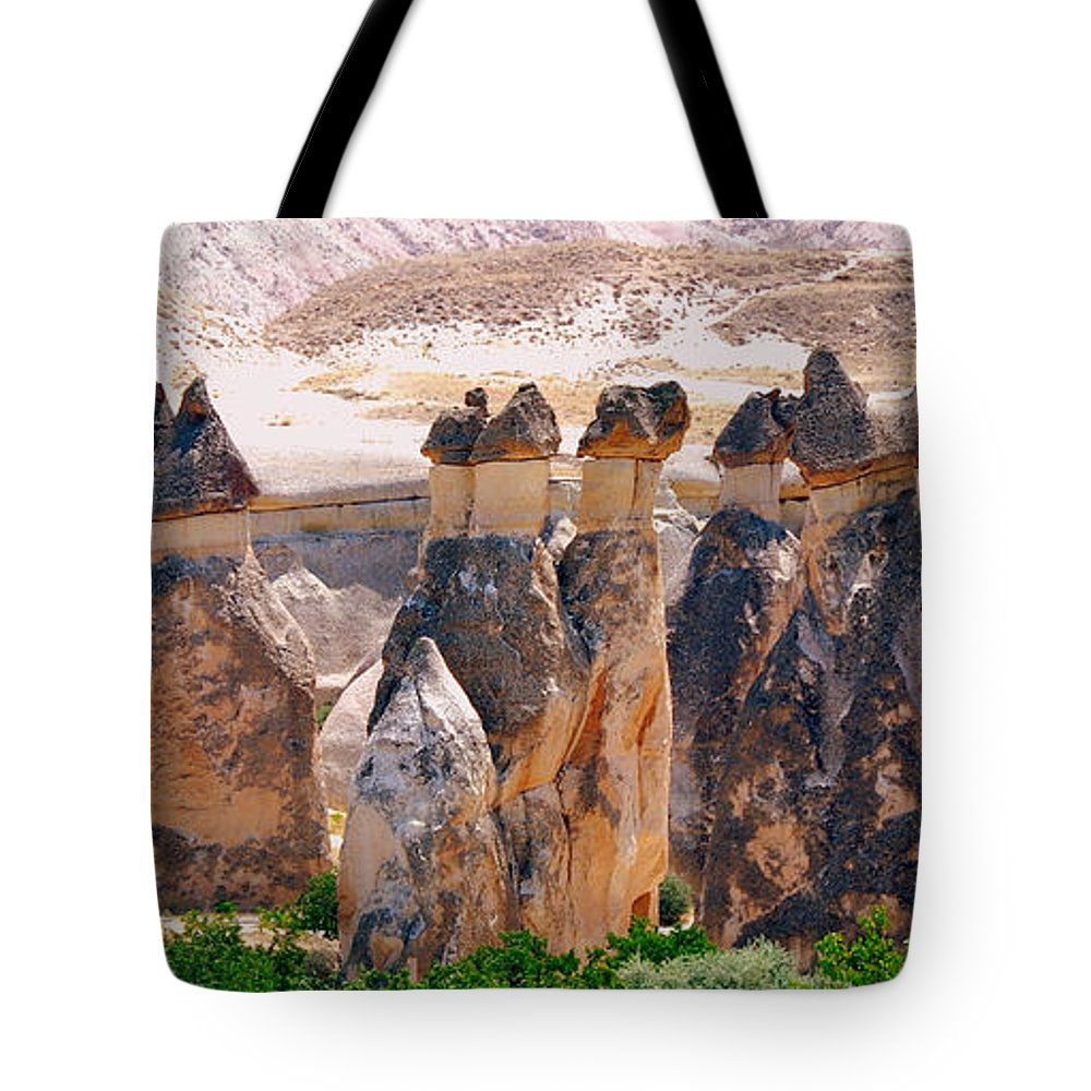 Landscape Tote Bag featuring the photograph Fairy Chimney Panorama by Apurva Madia