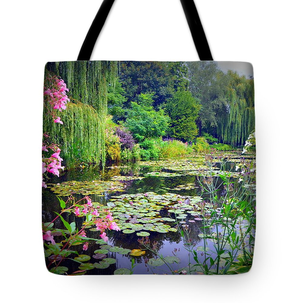 Water Lilies Tote Bag featuring the photograph Fairy Tale Pond With Water Lilies And Willow Trees by Carla Parris