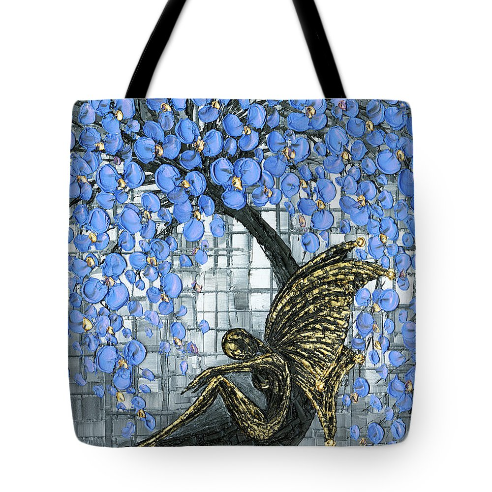 Fairy Tote Bag featuring the painting Fairy Under Blue Blossom by Susanna Shaposhnikova