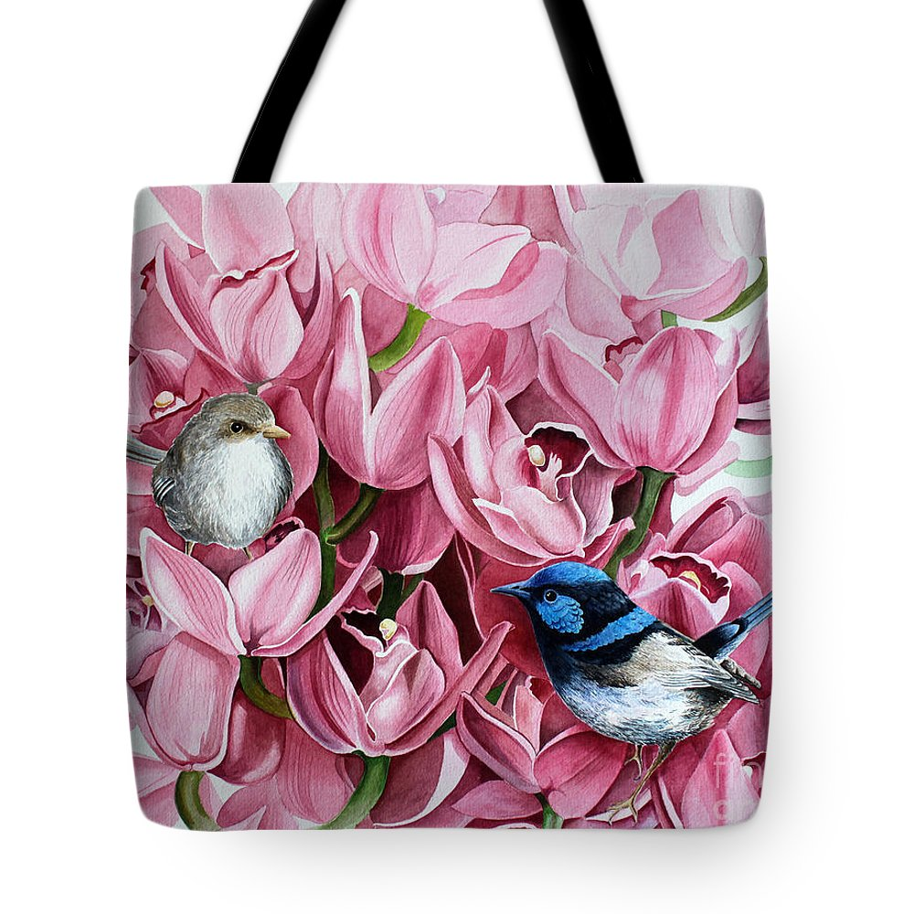 Watercolor Tote Bag featuring the painting Fairy Wrens And Orchids by Debbie Hart