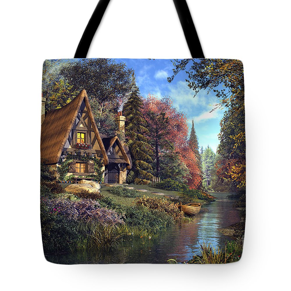 Fairytale Tote Bag featuring the digital art Fairytale Cottage by MGL Meiklejohn Graphics Licensing