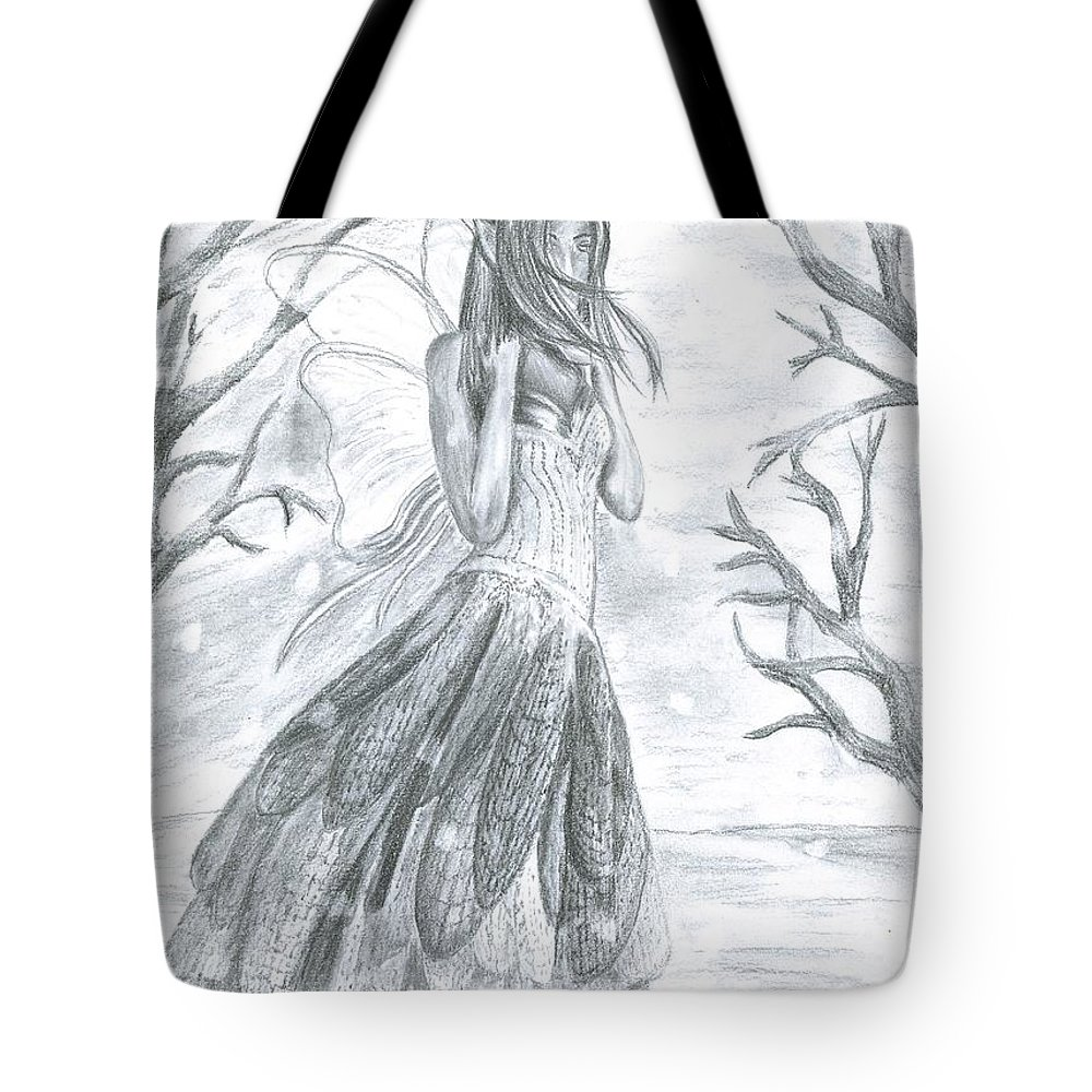 Snow Tote Bag featuring the drawing Fairytale Winter by Shelley Blair
