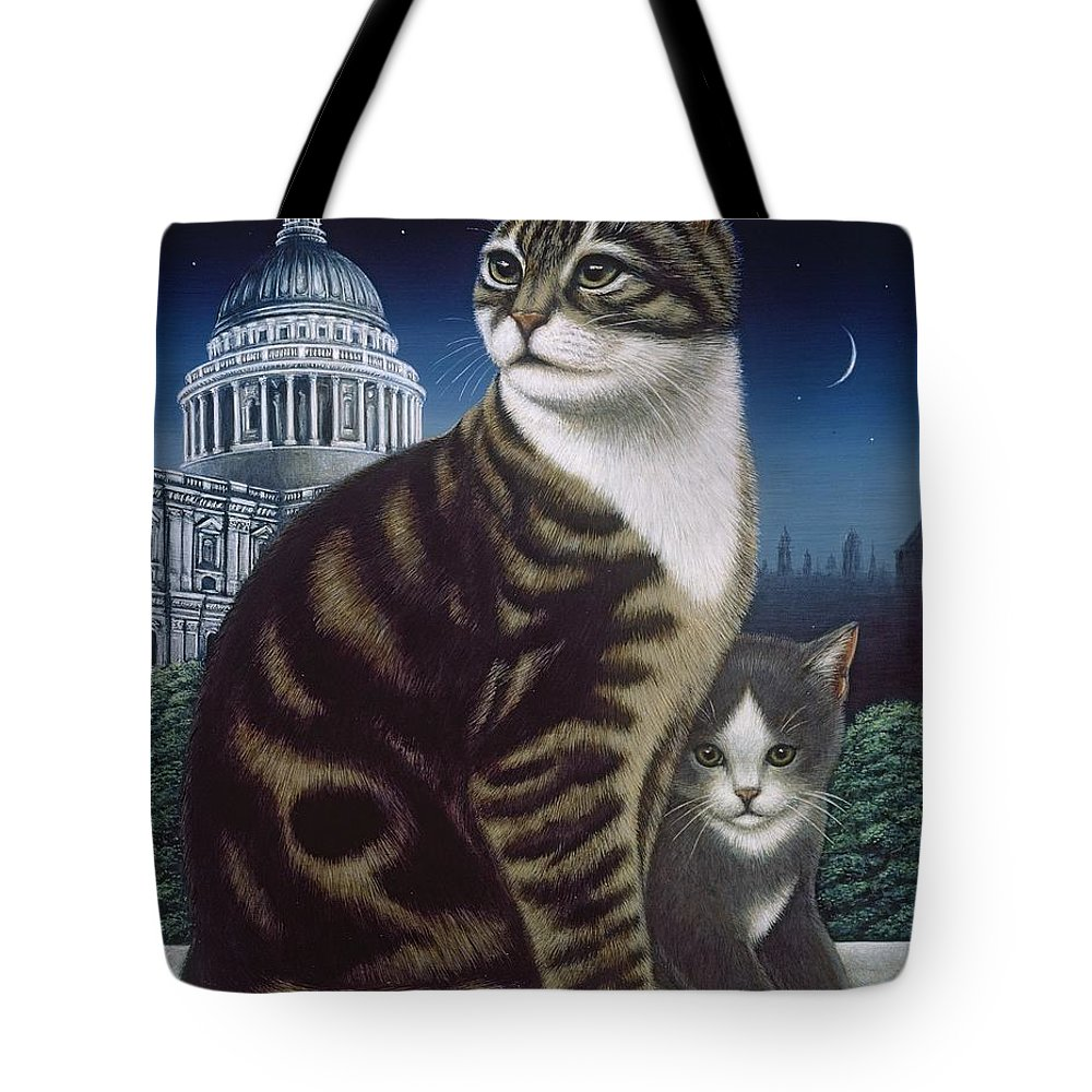 Cat Tote Bag featuring the painting Faith, The St. Paul's Cat by Frances Broomfield