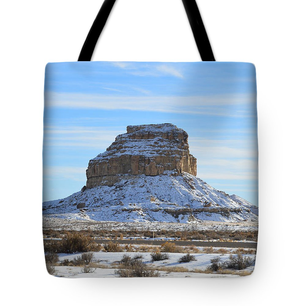 Chaco Tote Bag featuring the photograph Fajada Butte In Snow by Meandering Photography
