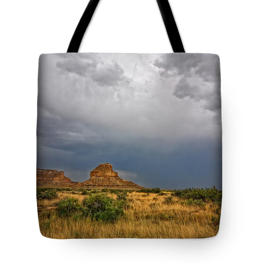 Sherry Day Tote Bag featuring the photograph Fajada Butte Storm by Ghostwinds Photography