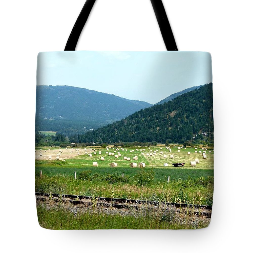Falkland Hay Bales Tote Bag featuring the photograph Falkland Hay Bales by Will Borden