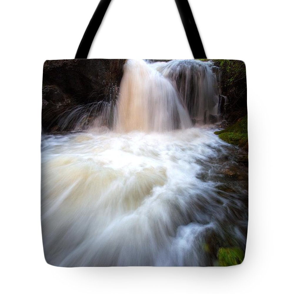 Waterfall Tote Bag featuring the photograph Fall And Splash by David Andersen