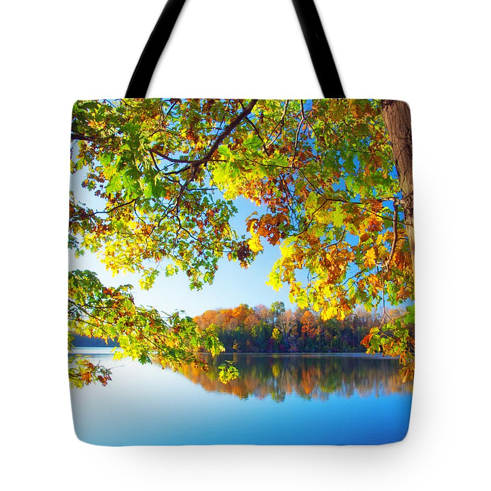 Fall By The Lake Tote Bag featuring the photograph Fall By The Lake by Carolyn Derstine