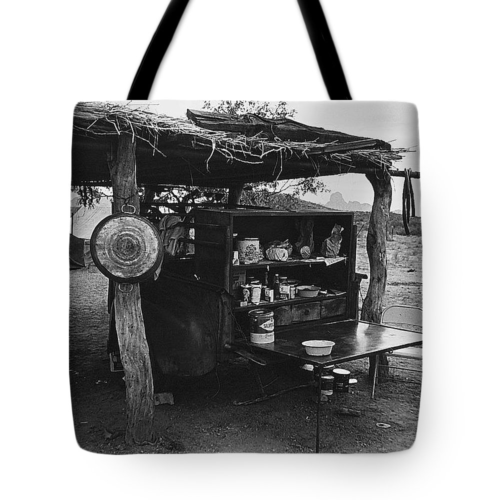 Fall Cattle Round-up Tohono O'odham Reservation Cook's Work Area Hanging Meat For Curing Near Sells Arizona 1969 Tote Bag featuring the photograph Fall Cattle Round-up Tohono O'odham Reservation Cook's Work Area Hanging Meat For Curing Near Sells by David Lee Guss