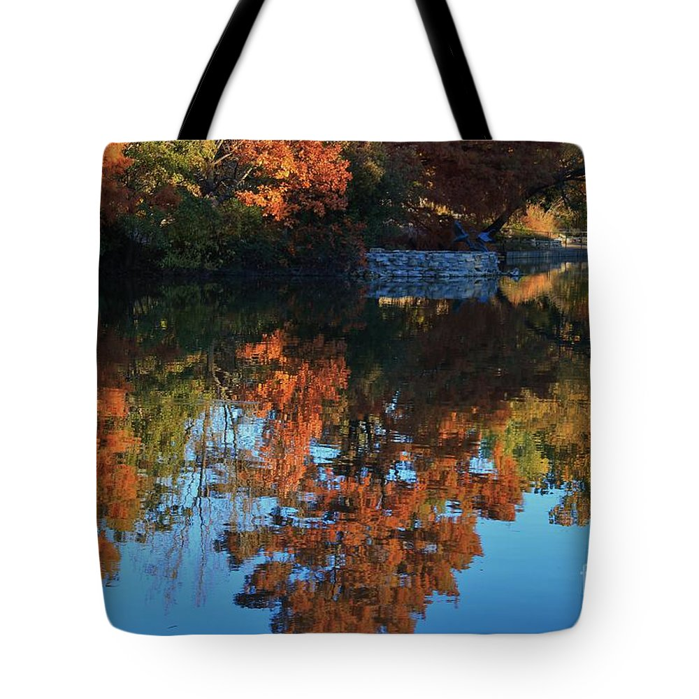 Fall Tote Bag featuring the photograph Fall Colors Water Reflection by Robert D Brozek