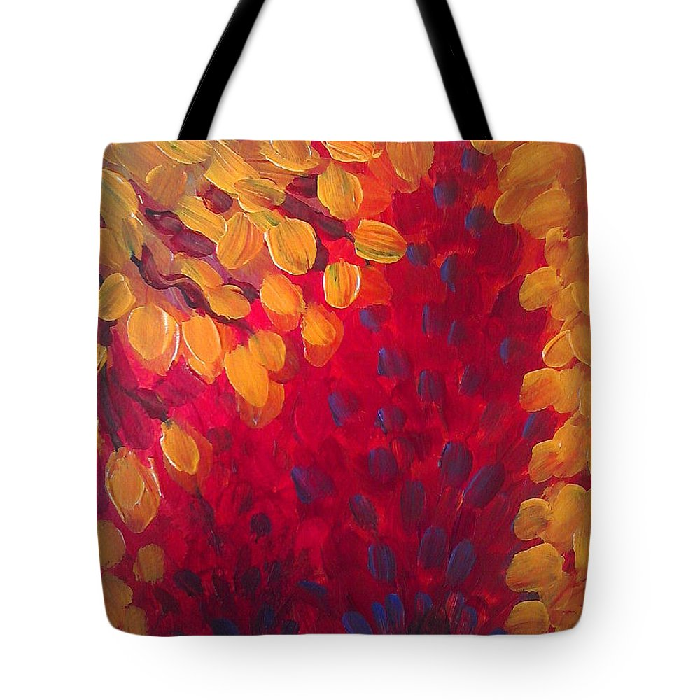 Abstract Tote Bag featuring the painting Fall Flurry by Holly Carmichael