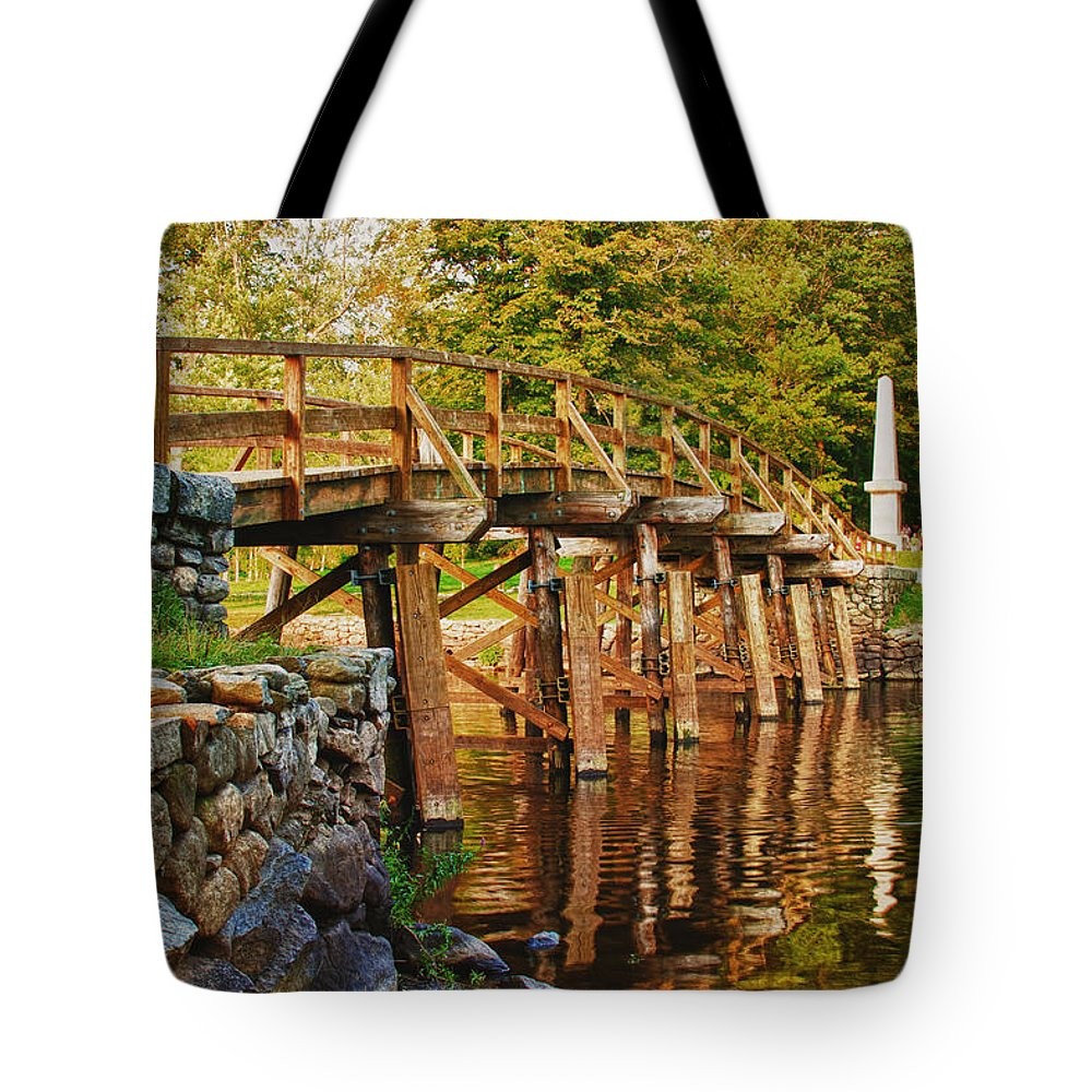 New England Tote Bag featuring the photograph Fall Foliage Over The North Bridge by Jeff Folger