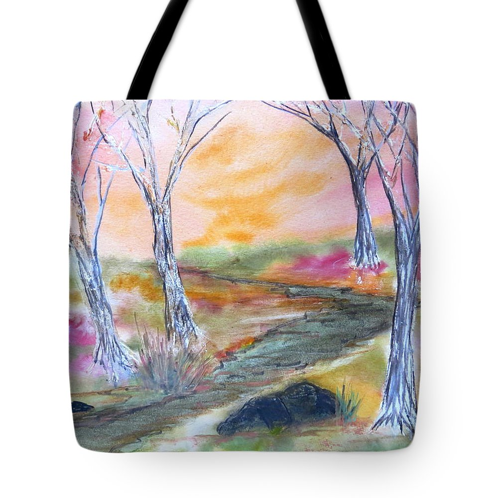 Fall Sky Sunset Leaves Autumn Fall Nature Hike Walk Path Saltwater Colors Trees Red Orange Yellow Green Studio Wildlife Natural Peaceful Path Tote Bag featuring the painting Fall Glow by Daniel Dubinsky