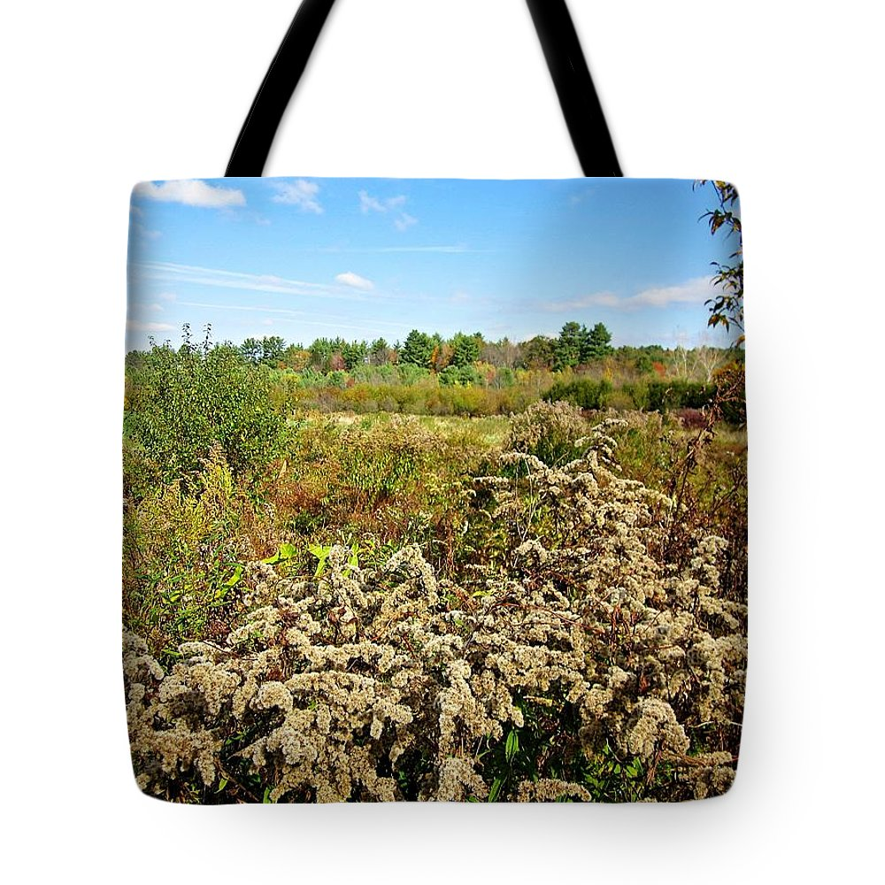 Goldenrod Tote Bag featuring the photograph Fall Goldenrod Field by MTBobbins Photography