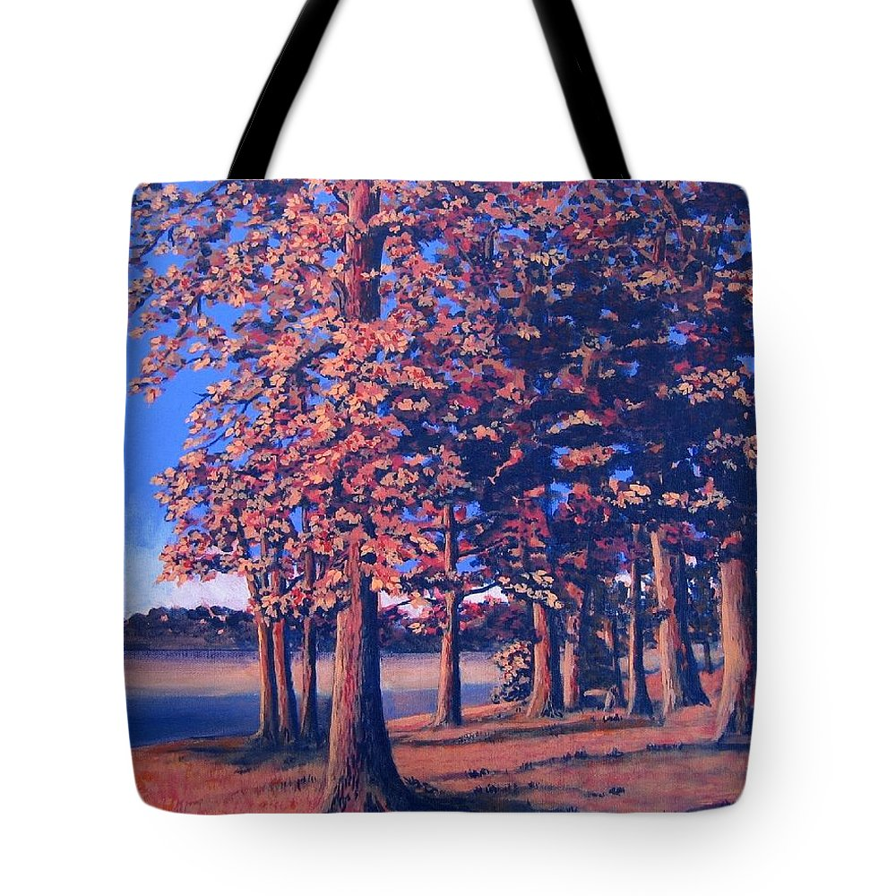 Trees Tote Bag featuring the painting Fall In East Texas by Suzanne Theis