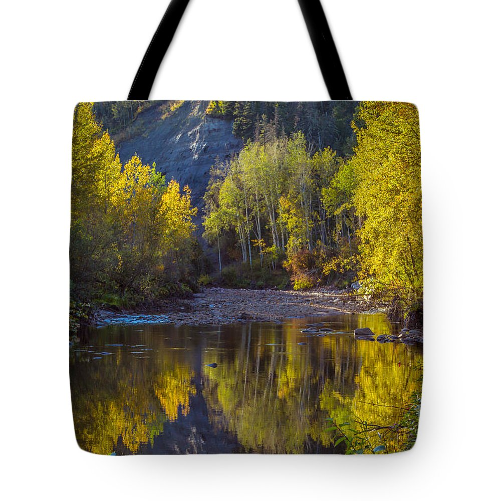 Fort Mcmurray Landscape Tote Bag featuring the photograph Autumn Reflections In Fort Mcmurray by Alanna DPhoto