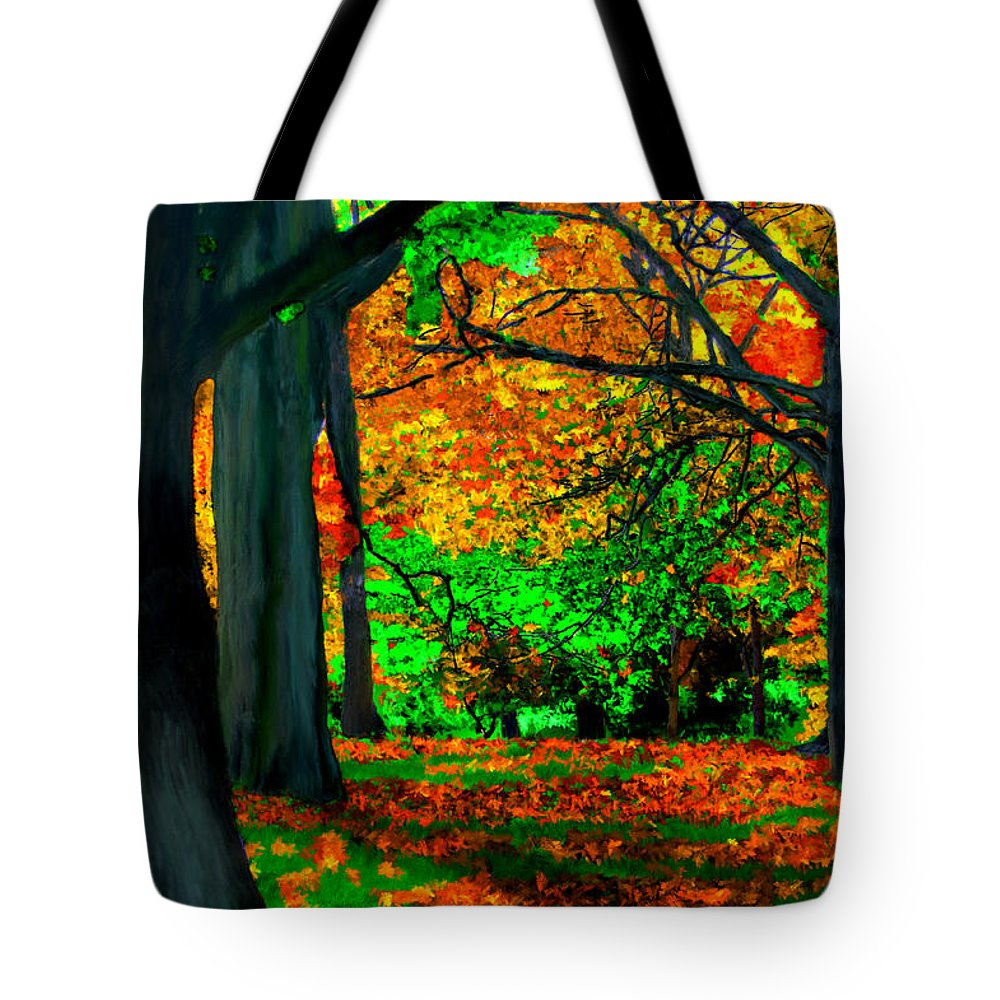 Trees Tote Bag featuring the painting Fall Is Here by Bruce Nutting