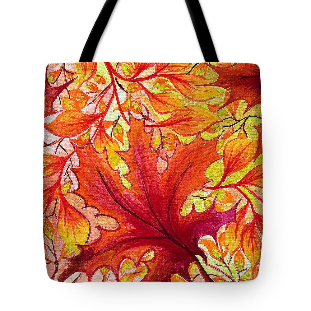 Watercolor Tote Bag featuring the painting Fall Leaves by Jo-Anne Elniski