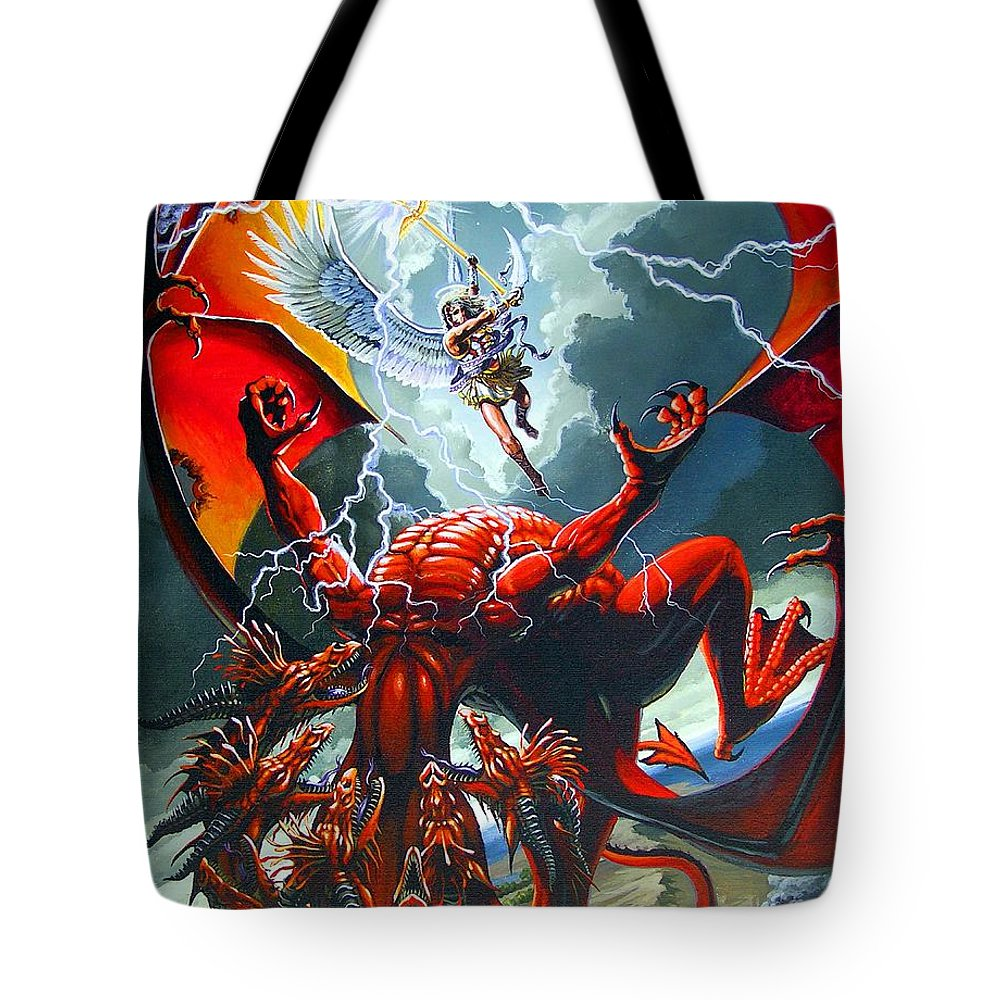 Dragon Tote Bag featuring the painting Fall Of The Hydra by Stanley Morrison