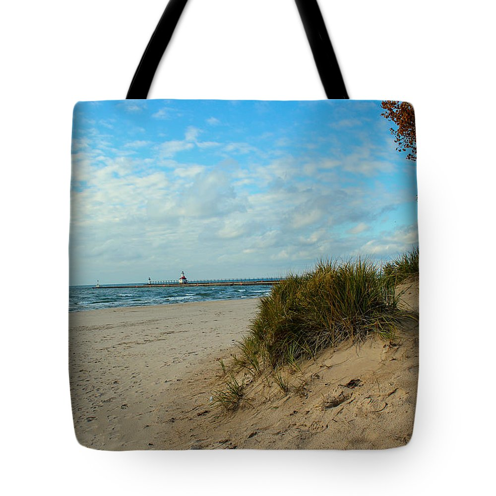 St. Joseph Michigan Tote Bag featuring the photograph Fall On The Beach by Harold Hopkins