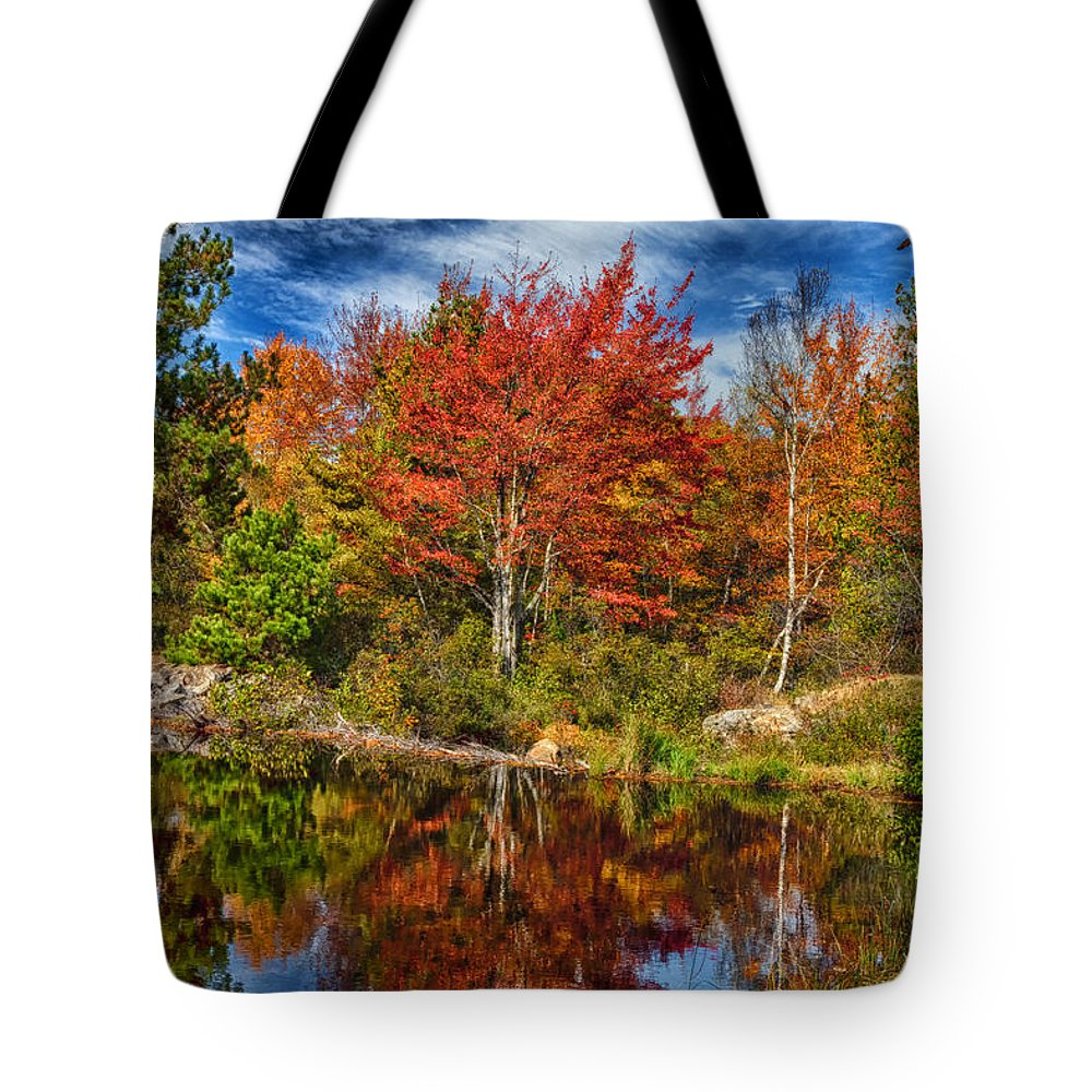 Fall Tote Bag featuring the photograph Fall Reflections In Maine Img 6312 by Greg Kluempers