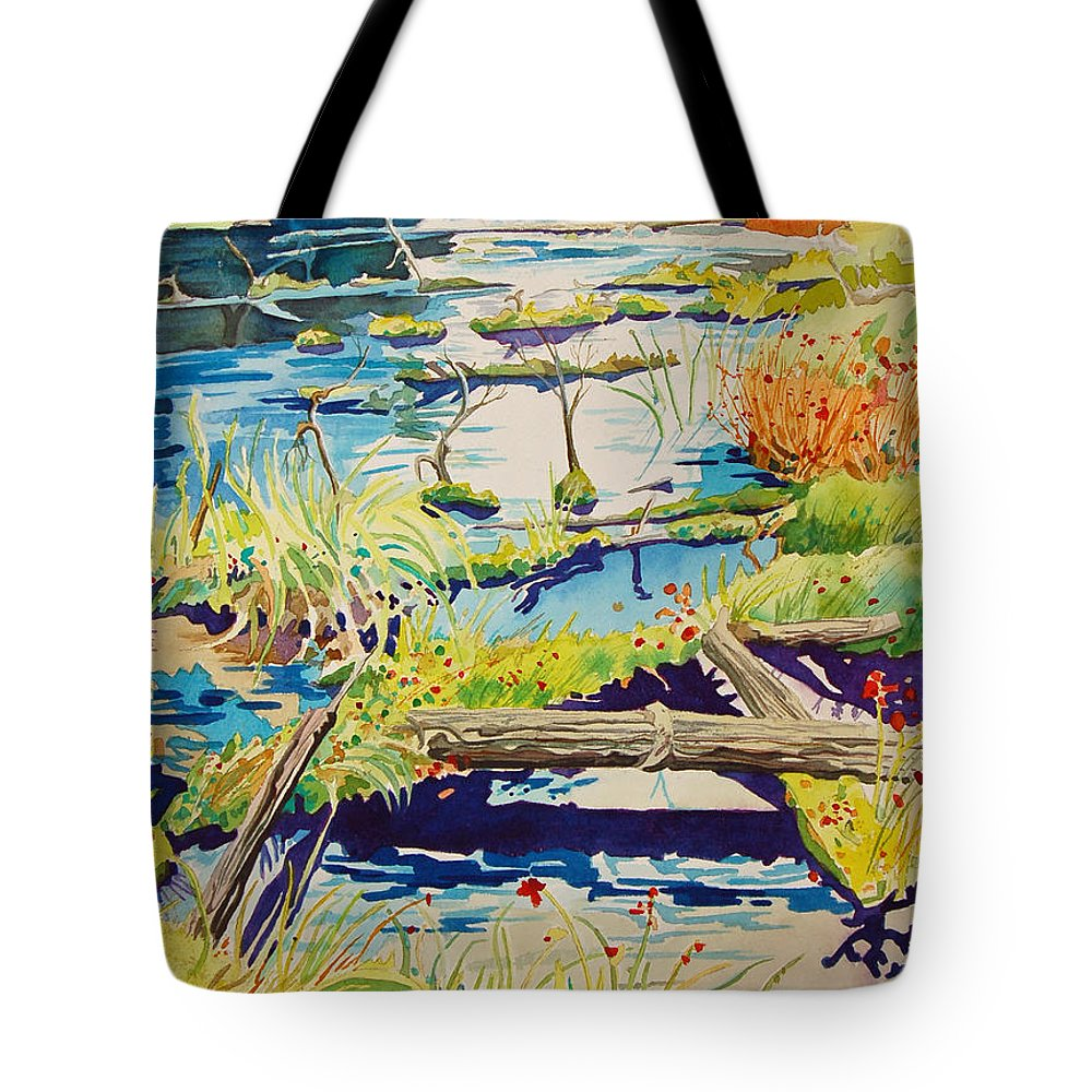 River Tote Bag featuring the painting Fall River Scene by Terry Holliday