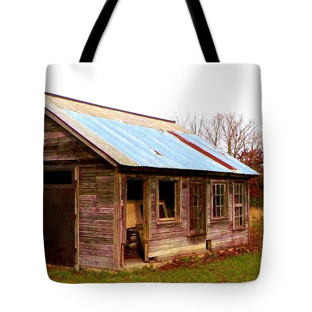 Old Shack Tote Bag featuring the photograph Fall Shack by Mykul Anjelo