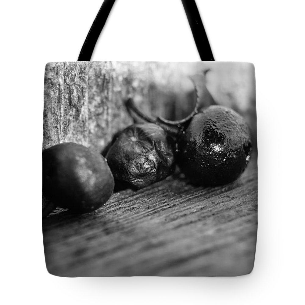 Berry Tote Bag featuring the photograph Fallen Berries by Jim Shackett