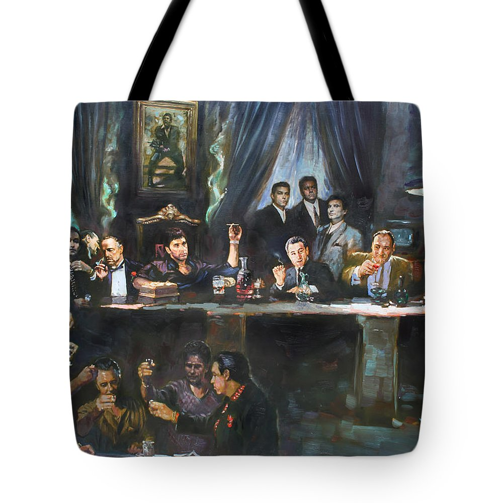 Gangsters Tote Bag featuring the painting Fallen Last Supper Bad Guys by Ylli Haruni