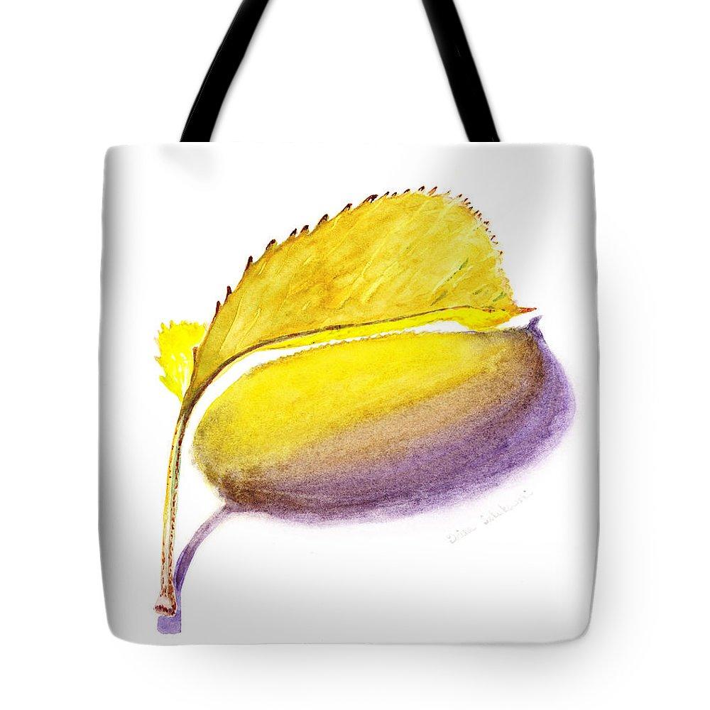 Autumn Tote Bag featuring the painting Fallen Leaf Yellow Shadows by Irina Sztukowski