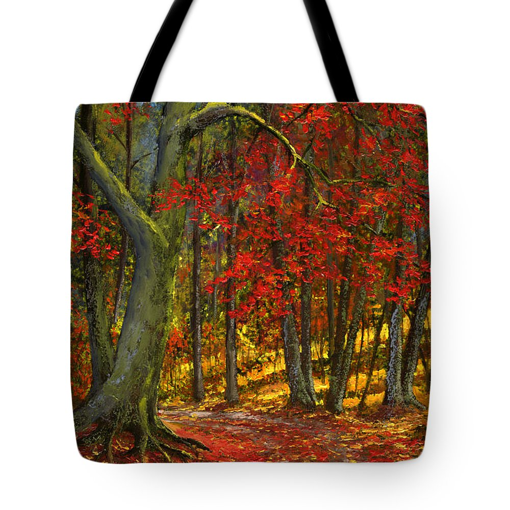 Landscape Tote Bag featuring the painting Fallen Leaves by Frank Wilson