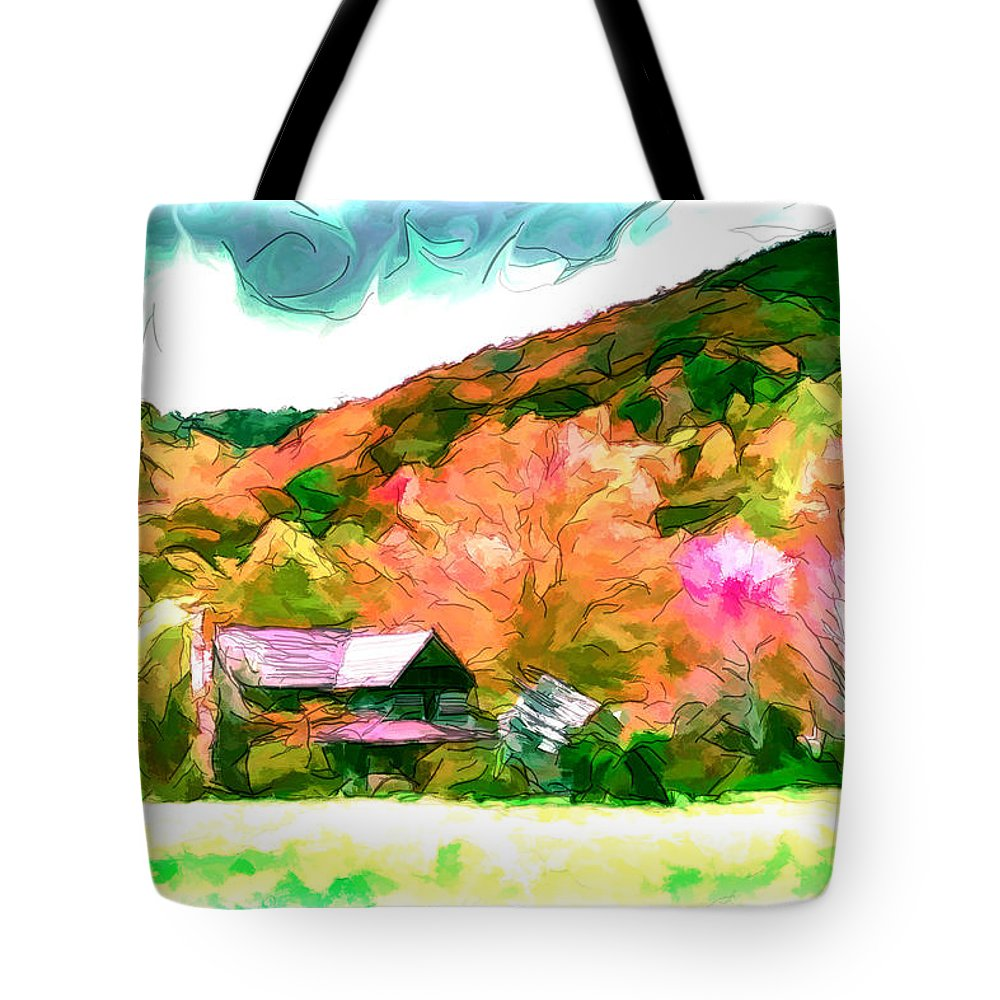 Dilapidated Tote Bag featuring the painting Falling Farm Blended Art Styles by John Haldane