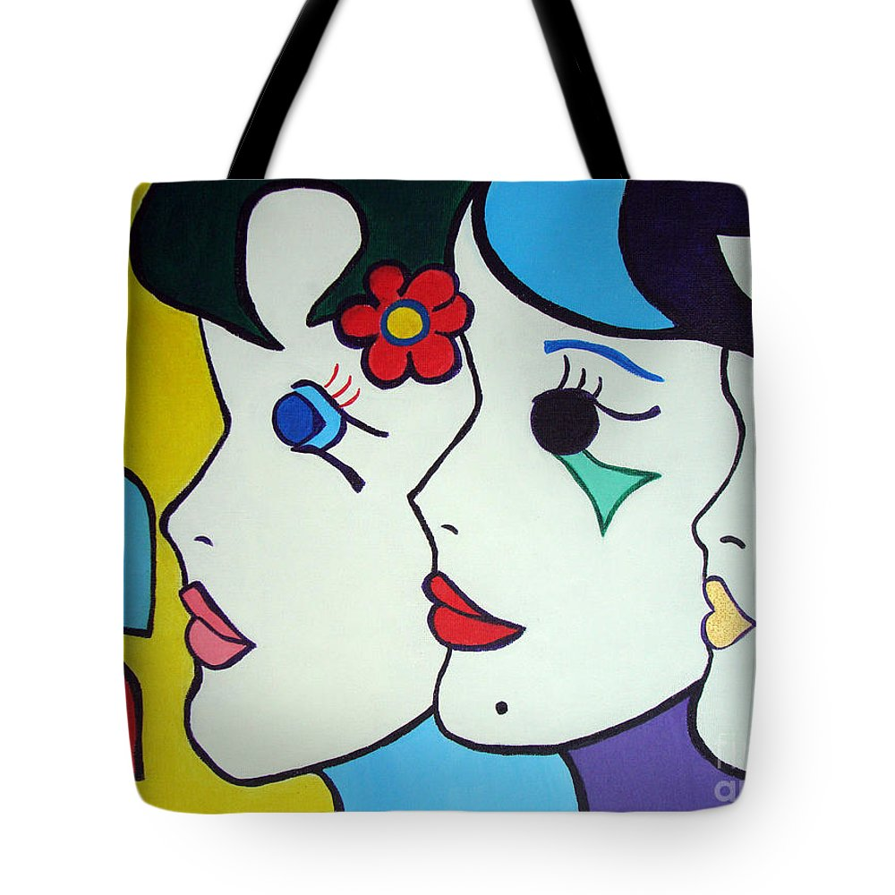 Pop-art Tote Bag featuring the painting Falling In Love by Silvana Abel