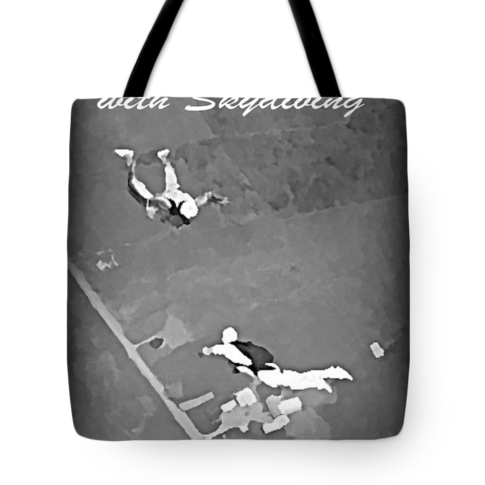 Falling In Love With Skydiving Tote Bag featuring the painting Falling In Love With Skydiving by John Malone