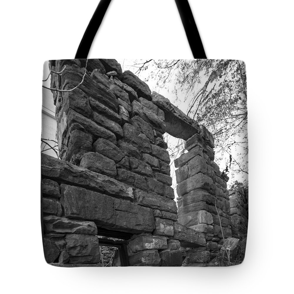 Abandoned Tote Bag featuring the photograph Falling Wall Jerome Black And White by Scott Campbell