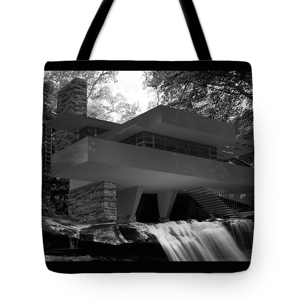 Fallingwaters Tote Bag featuring the digital art Falling waters by Louis Ferreira