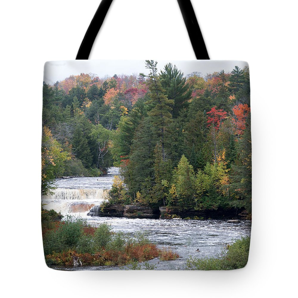 Lower Tahquamenon Falls Tote Bag featuring the photograph Falls And Color by Linda Kerkau