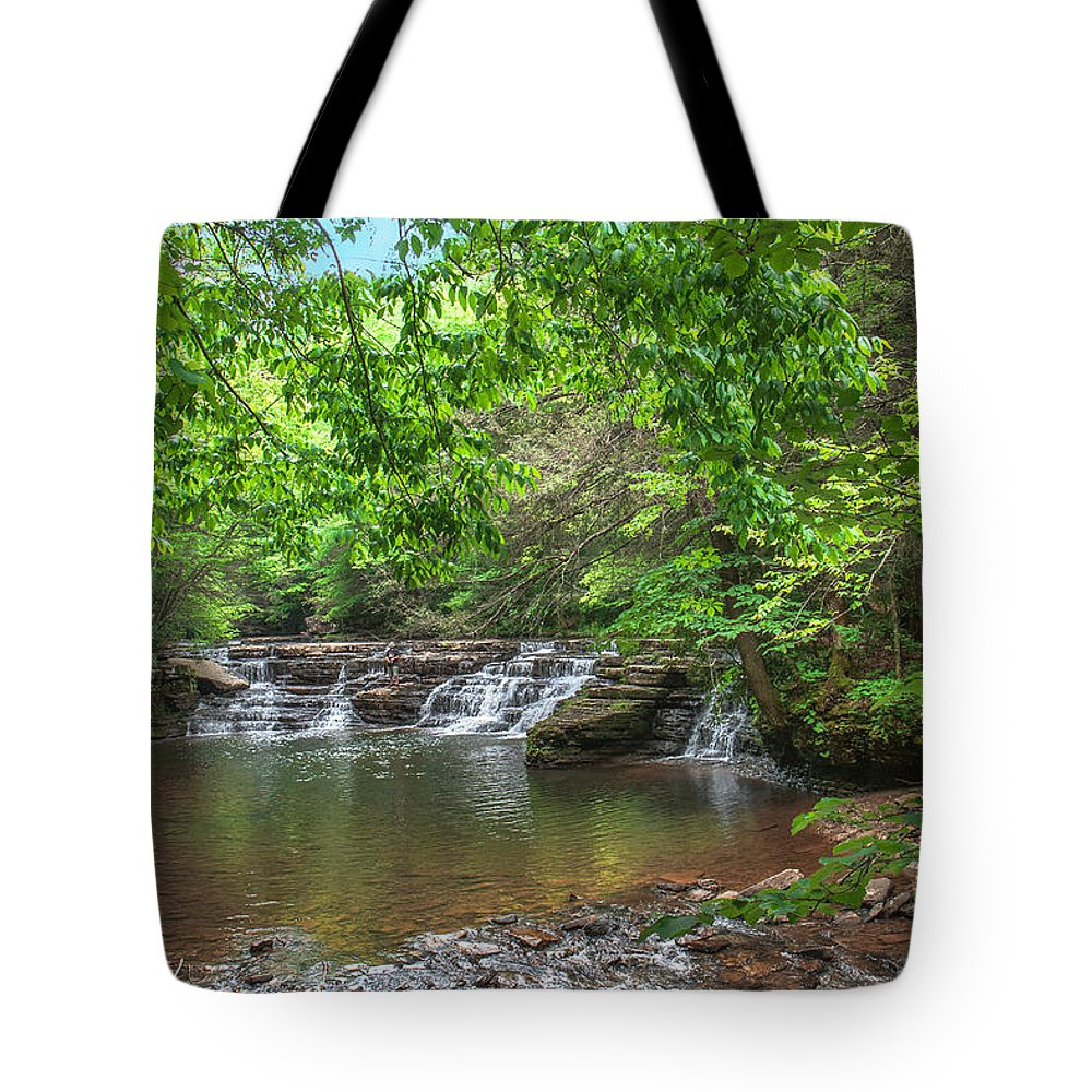 Waterfalls Tote Bag featuring the photograph Falls At Camp Creek by Mary Almond