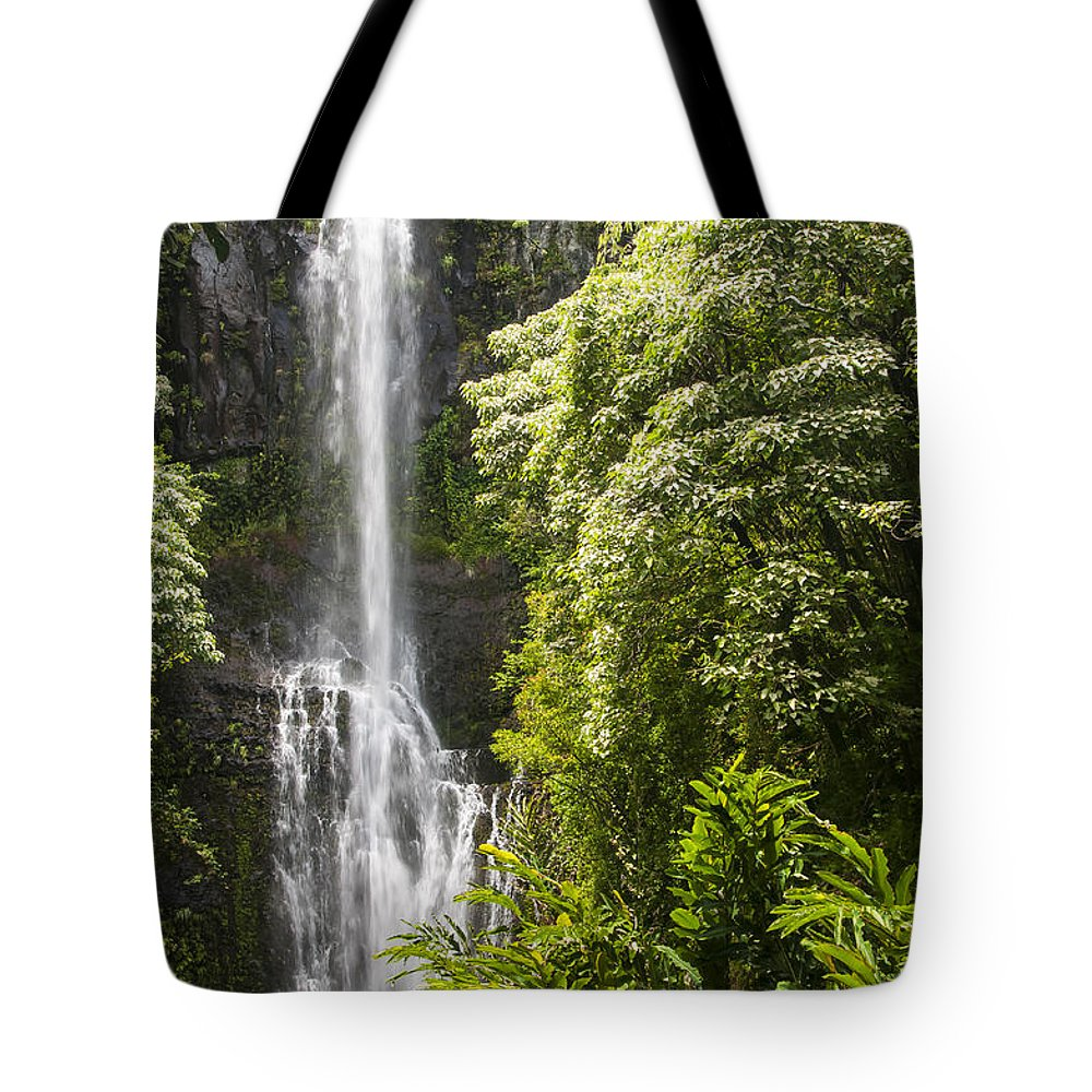 Wailua Falls Road To Hana Maui Hawaii Waterfall Waterfalls Water Landscape Landscapes Tree Trees Vine Vines Fern Ferns Nature Waterscape Waterscapes Tote Bag featuring the photograph Falls On The Road To Hana by Bob Phillips