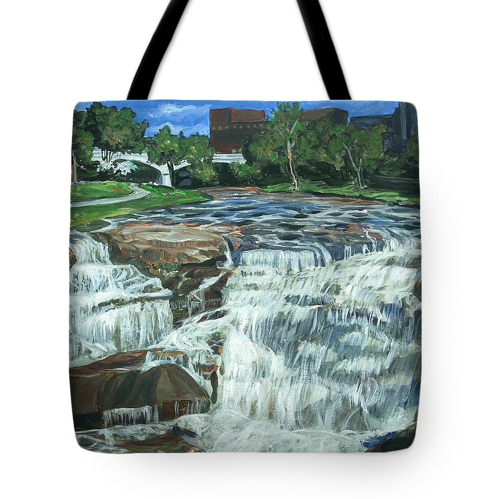 Waterfall Tote Bag featuring the painting Falls River Park by Bryan Bustard