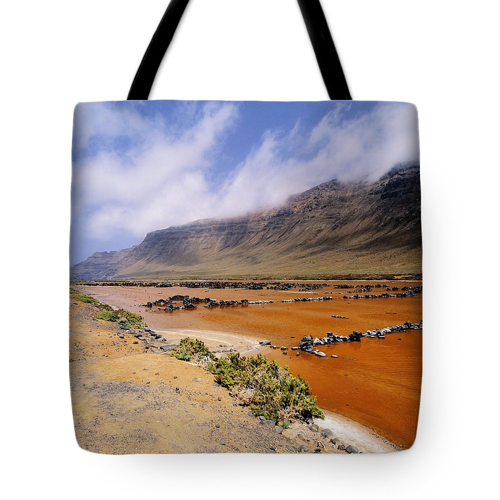 Cliff Tote Bag featuring the photograph Famara Cliffs And Salinas Del Rio On Lanzarote by Karol Kozlowski