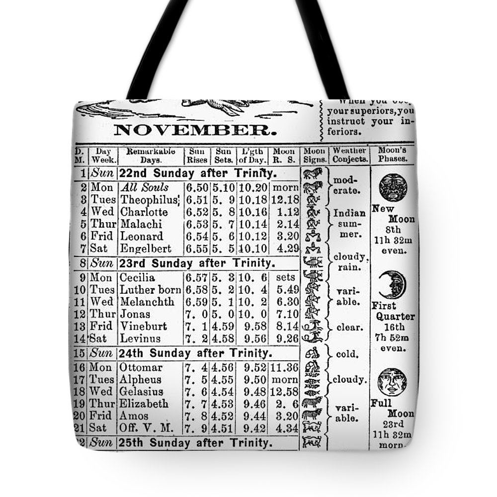 1874 Tote Bag featuring the photograph Family Almanac, 1874 by Granger