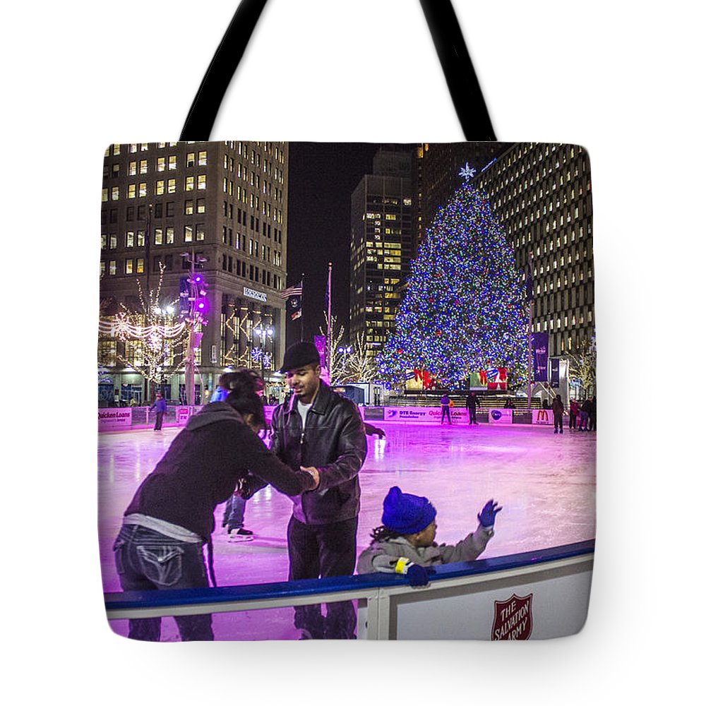 Detroit Tote Bag featuring the photograph Family At Detroit Ice Rink  by John McGraw