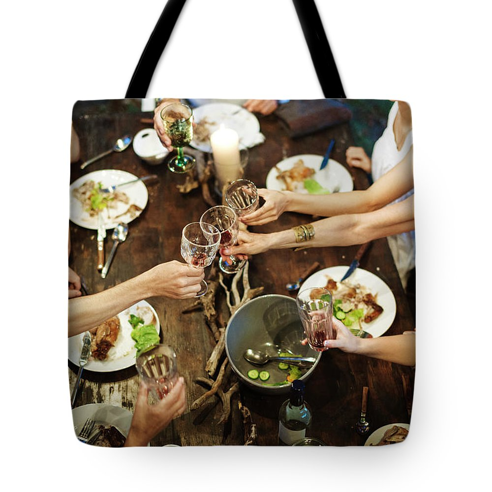 Adult Offspring Tote Bag featuring the photograph Family Celebrating Garden Party by Hinterhaus Productions